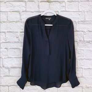 Vince Navy Blue Silk Shirt